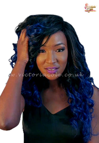 "10"" 1B Royal Blue Ombre Body Wave 7A Grade Virgin Hair"