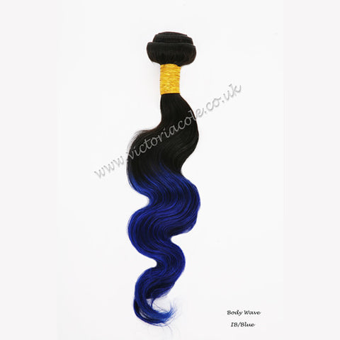 "Peruvian body wave ombre 1B/99J Royal blue 16"" Virgin Hair Extensions"