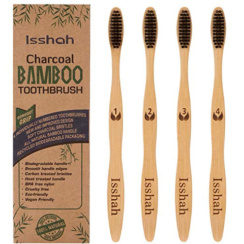 Isshah Charcoal Bamboo Toothbrushes