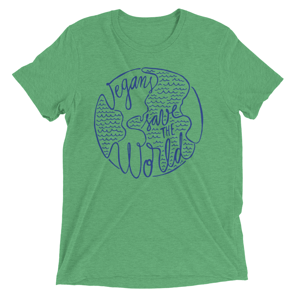 Vegan T-Shirt - Vegans Save The World shirt - Green