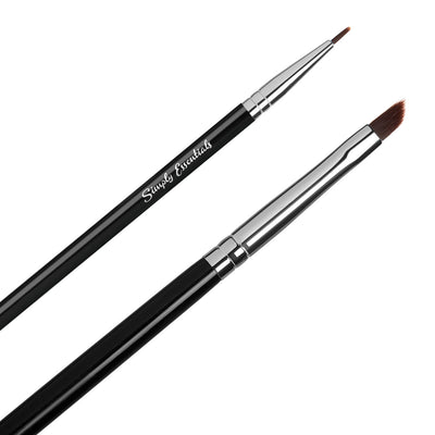 Eyeliner Brush Set - Two Eyeliner Brushes Angled and Straight