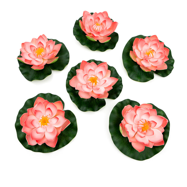 Best Floating Flowers Set of 6 -  Medium Coral - 5 1/2 Inch Each