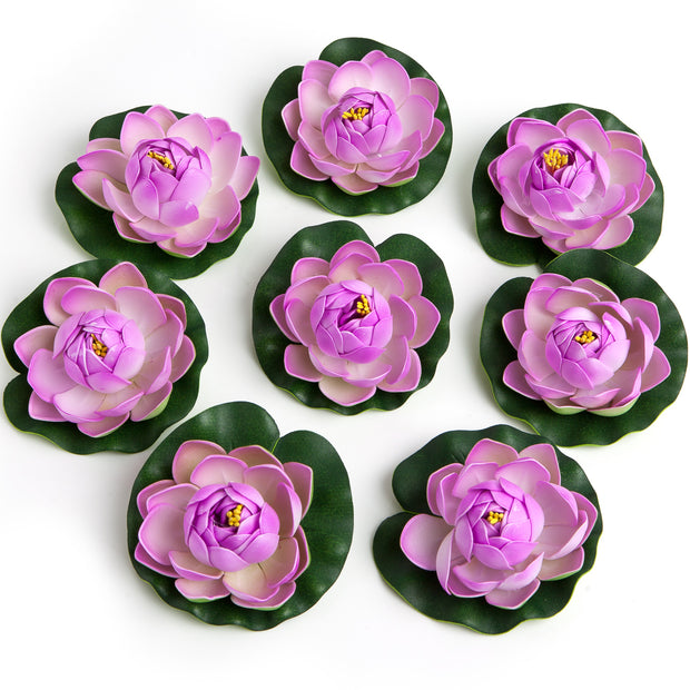 BEST FLOATING FLOWERS SET of 6 for Weddings - Water Features - Large - 4 1/2 Inch Each (Purple)