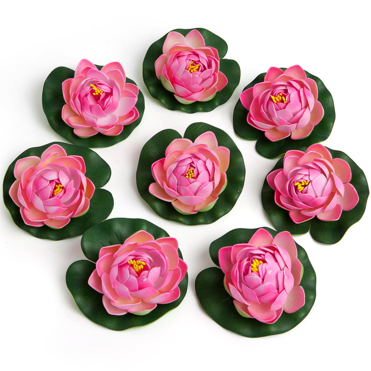 BEST FLOATING FLOWERS SET of 6 for Weddings - Water Features - Large - 4 1/2 Inch Each (Pink)