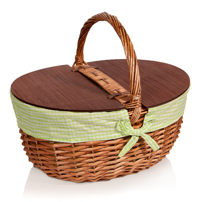 Best Picnic Basket Wicker with Lid and Handle - Extra Large - Includes Green Gingham Liner