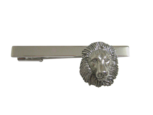 Silver Toned Textured Lion Head Square Tie Clip