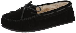 Minnetonka Women's Cally Faux Fur Slipper -Black