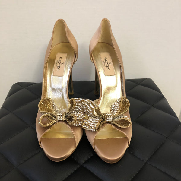 Valentino Beige Satin Bow Crystal D'orsay Pumps Size 37.5
