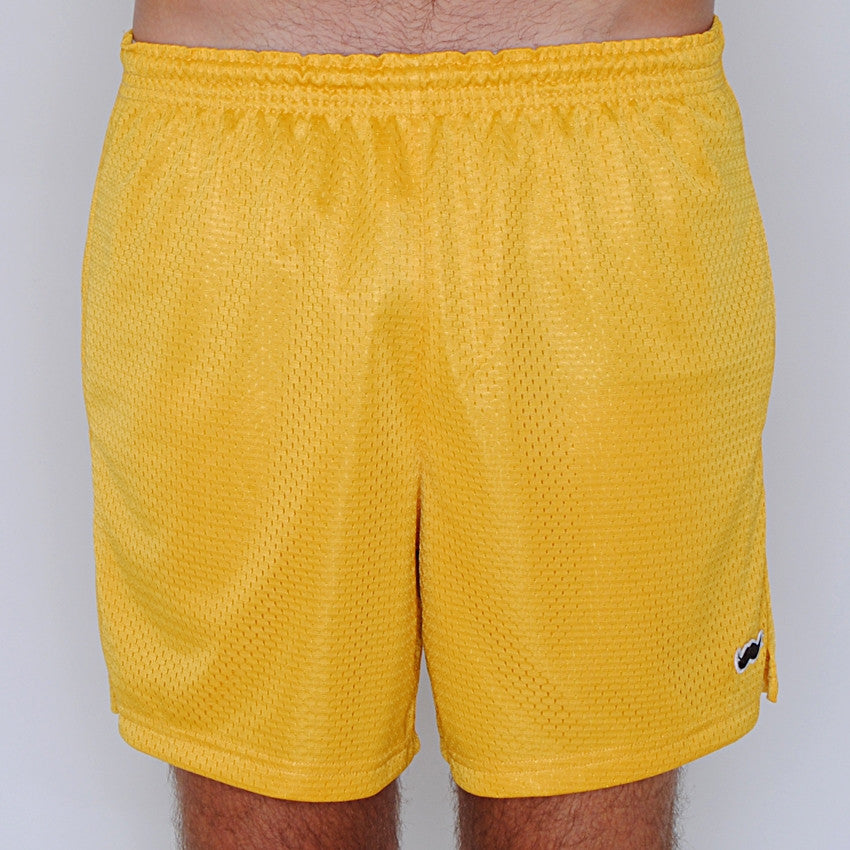 mesh stache (see what we did there) mesh gym shorts - vintage gold