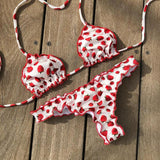 Strawberry Print Strap Bikini Set Swimsuit Swimwear