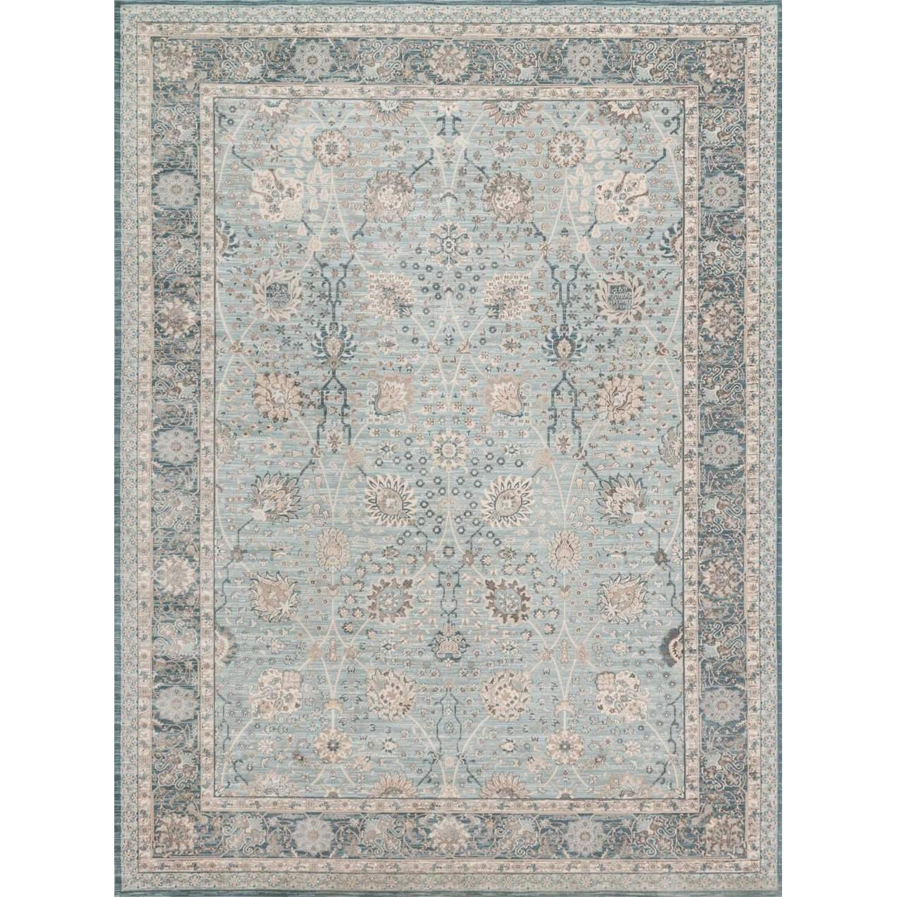 Joanna Gaines Magnolia Home Rug - Ella Rose Collection - Lt Blue / Dk Blue