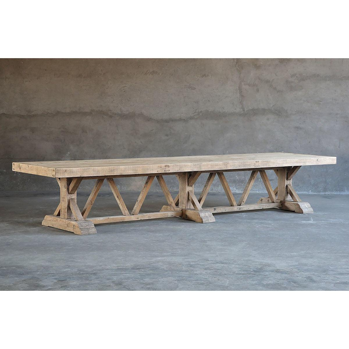 Salvaged Wood Trestle Dining Table - Large