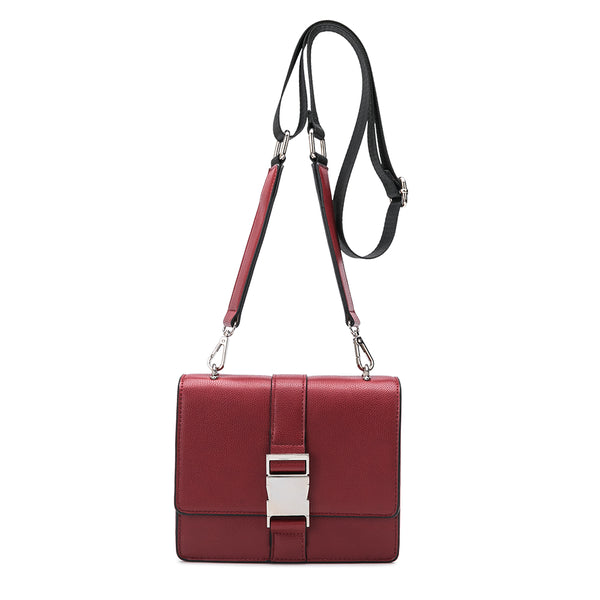 vegan, cruelty free, handbag, bag, purse, faux leather, animal friendly, sustainable fashion, stalking gia, crossbody, belt bag, convertible, multiwear, small, mini, buckle, silver hardware, red
