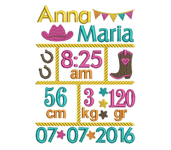 Cowgirl Birth Template Embroidery Designs Set BA020