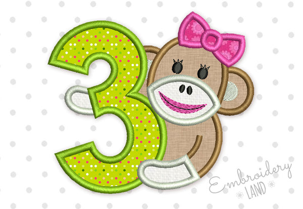Sock Monkey Girl Happy Birthday Number 3 Applique HB094