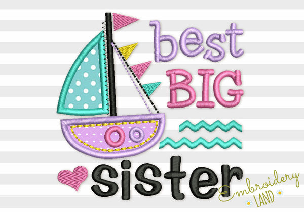 Best Lil Sister and Ship Applique BA035