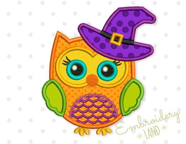 Cute Halloween Owl in a Hat Applique  HAL024