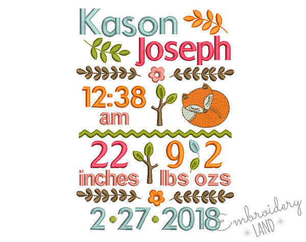 Woodland Baby Birth Announcement Embroidery Design 5x7 or 6x10 hoop sizes CU007
