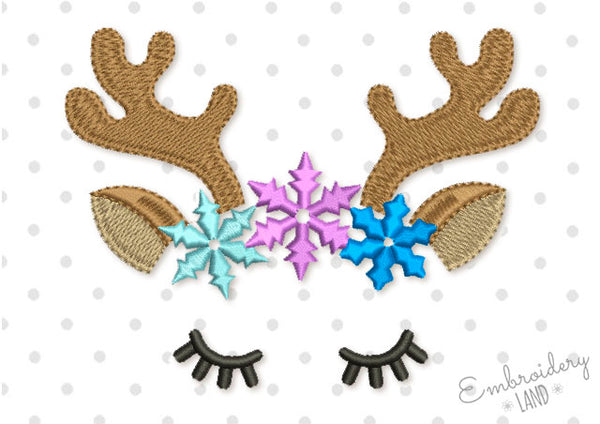 Cute Reindeer and Snowflakes AN046
