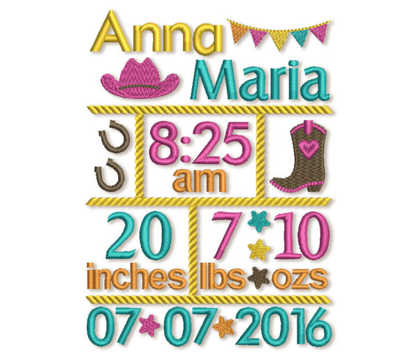 Custom Baby Cowgirl Birth Announcement Embroidery Design 5x7 or 6x10 hoop sizes CU003