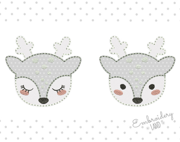 Doe Deer Hand Stitch Free Edge Applique Set AN056