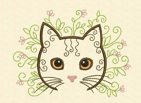 Flower Cat Machine Embroidery Design AN012
