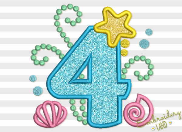 Cute Mermaid Sea Number 4 Applique HB072