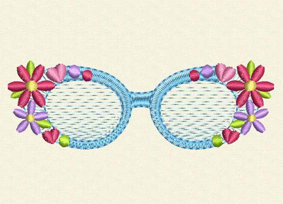 Flower Glasses Embroidery Design BA002