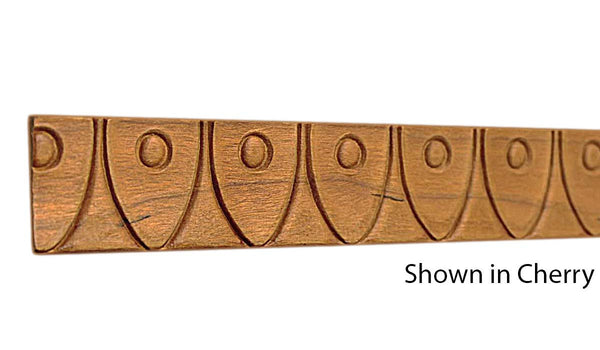 "Profile view of decorative cherry embossed molding, product number CHDE140 5/16""x1-1/4"" Cherry $3.60/ft. sold by American Wood Moldings"