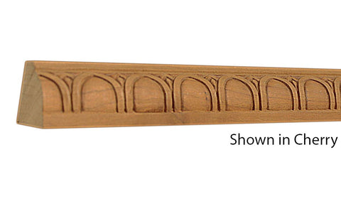 "Profile view of decorative cherry embossed molding, product number CHDE170 1-3/4""x1-1/4"" Cherry $8.40/ft. sold by American Wood Moldings"