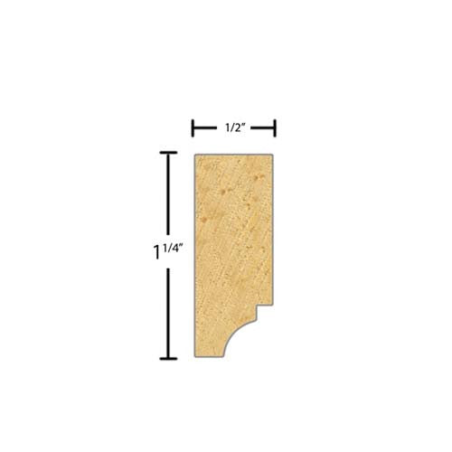 "Side view of a decorative pine dentil molding, product number PIDD105 1/2""x1-1/4"" Pine $2.32/ft. sold by American Wood Moldings"