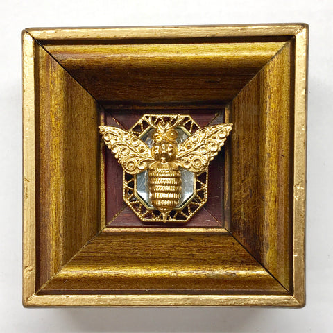 Wooden Frame with Victorian Bee on Brooch (3.25