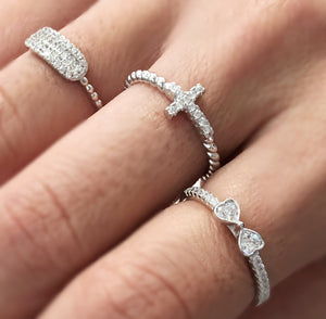 925 Sterling Silver And Crystal Cross Ring
