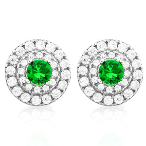 925 Sterling Silver 3/4 Emerald & 1/2 Carat Diamond Stud Earrings