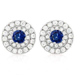 925 Sterling Silver 3/4 Carat Blue Sapphire & 1/2 Carat Diamond Stud Earrings
