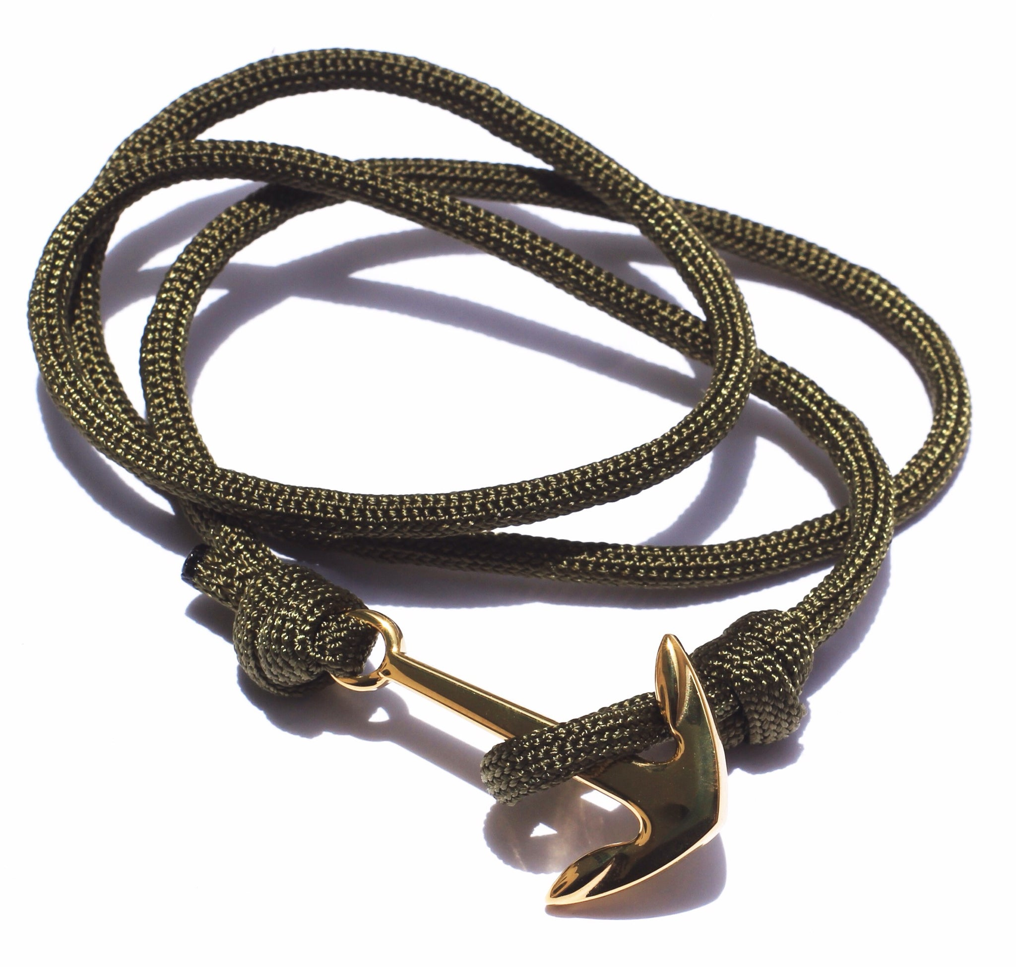Gold Tone Anchor Green Cord
