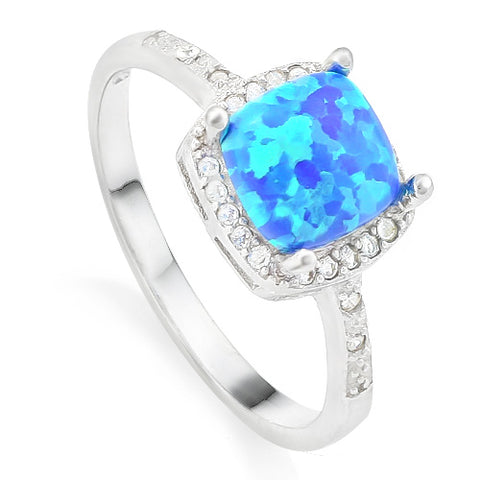 925 Sterling Silver 2/3 Carat Blue Fire Opal & 1/5 Carat (24 pcs) White Sapphire Ring