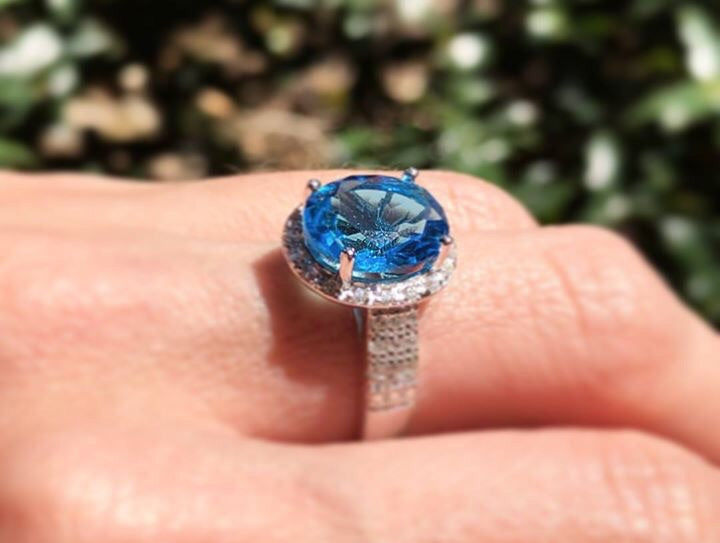 925 Sterling Silver 5 Carat Swiss Topaz & Diamond Halo Ring
