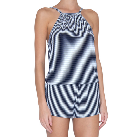 Eberjey Cotton Stripe Halter Teddy