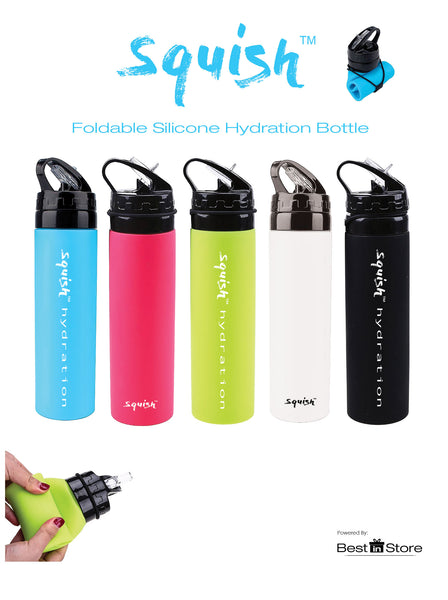 Squish Foldable Bottle in Liquorice Black