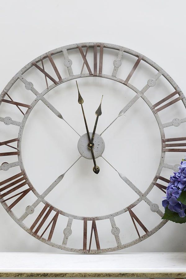 Metal Grey Skeleton Wall Clock with roman numerals