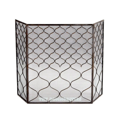 Blakewell 3 Panel Iron Fire Screen with Mesh Backing