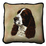 English Springer Spaniel Dog Portrait Art Tapestry Pillow