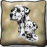 Dalmatian Dog and Puppy Portrait Art Tapestry Pillow