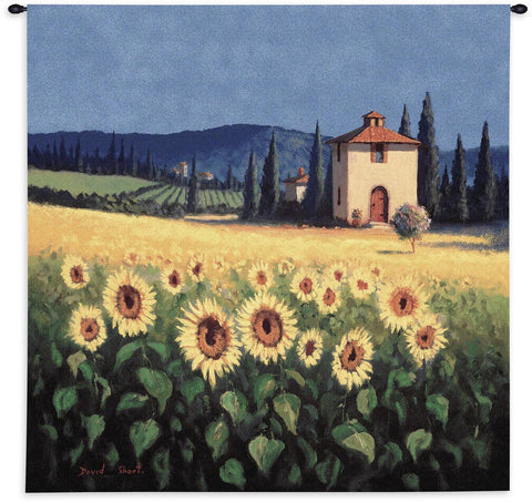 Golden Field of Sunflowers Art Tapestry Wall Hanging