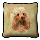 Cream Poodle Dog Portrait Art Tapestry Pillow