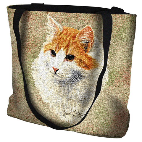 Red and White Short Haired Cat Portrait Art Tapestry Tote Bag