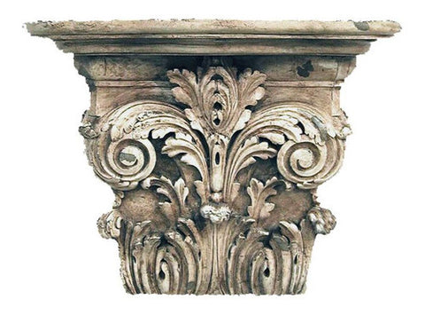 Elaborate Acanthus Leaf Bracket Wall Shelf, Old World White Finish