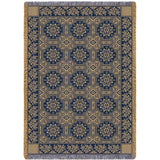 1845 Quilt Pattern Art Tapestry Throw in Navy Blue