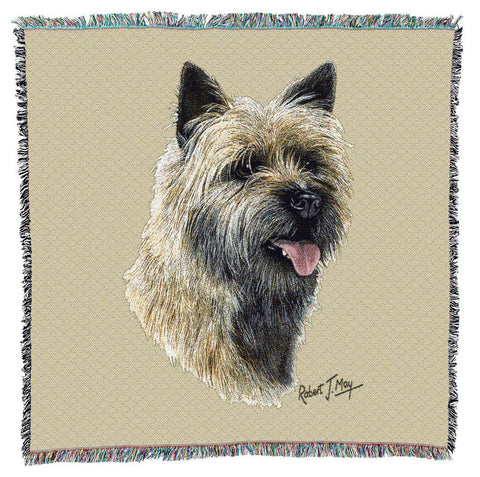 Cairn Terrier Dog II Portrait Art Tapestry Lap Throw